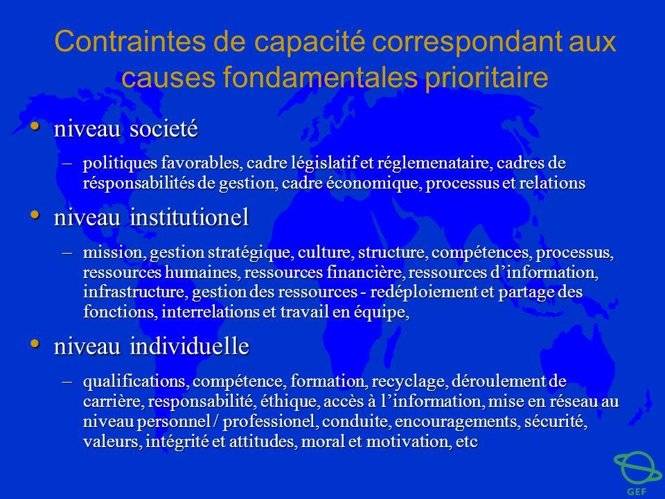 Contraintes de capacité correspondant aux causes fondamentales prioritaire