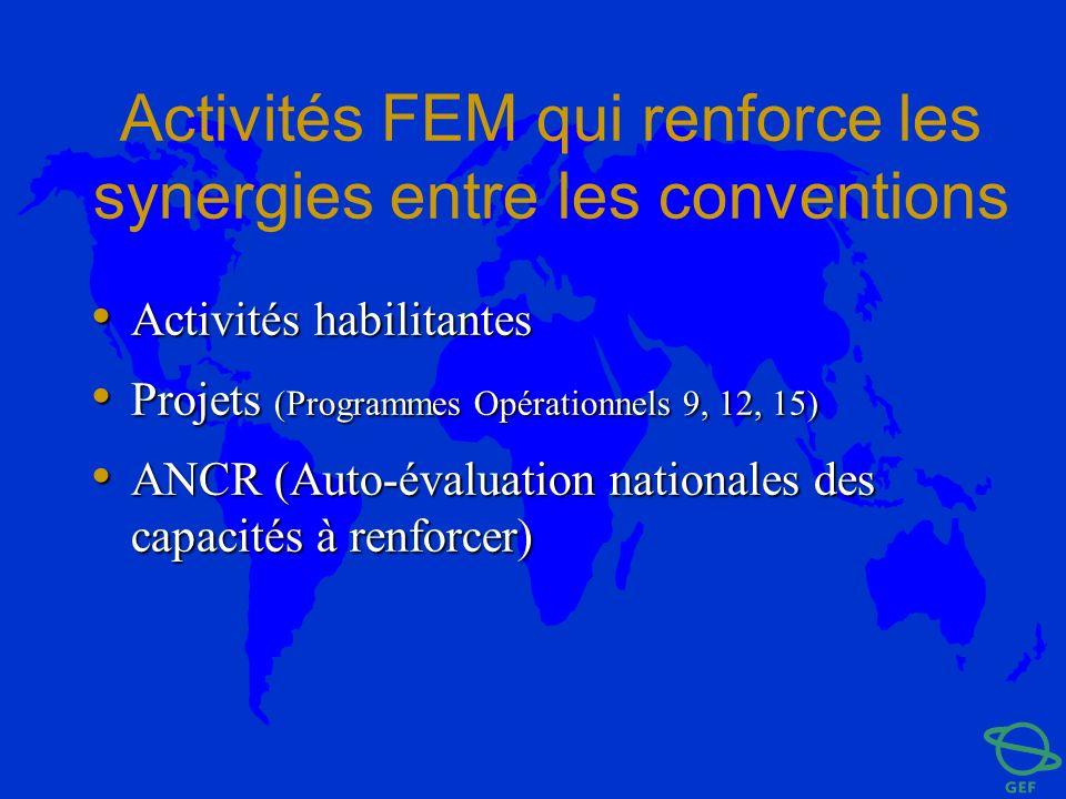 Activités FEM qui renforce les synergies entre les conventions