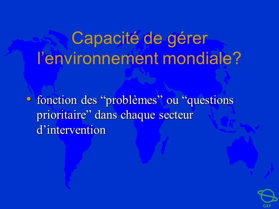 Capacité de gérer l'environnement mondiale
