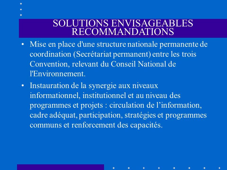 SOLUTIONS ENVISAGEABLES RECOMMANDATIONS