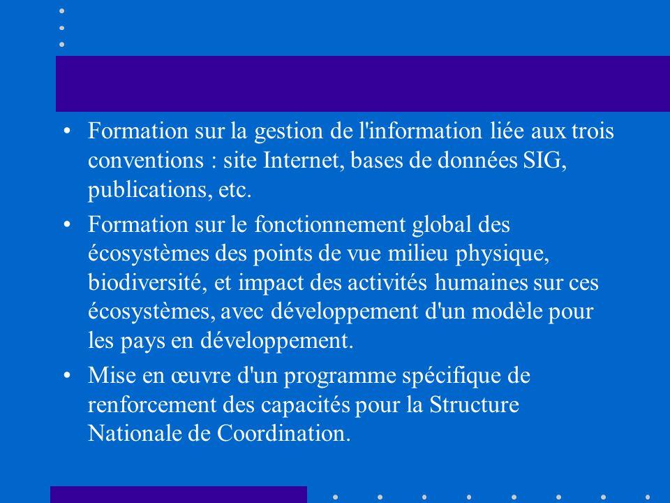 Formation sur la gestion de l information liée aux trois conventions : site Internet, bases de données SIG, publications, etc.