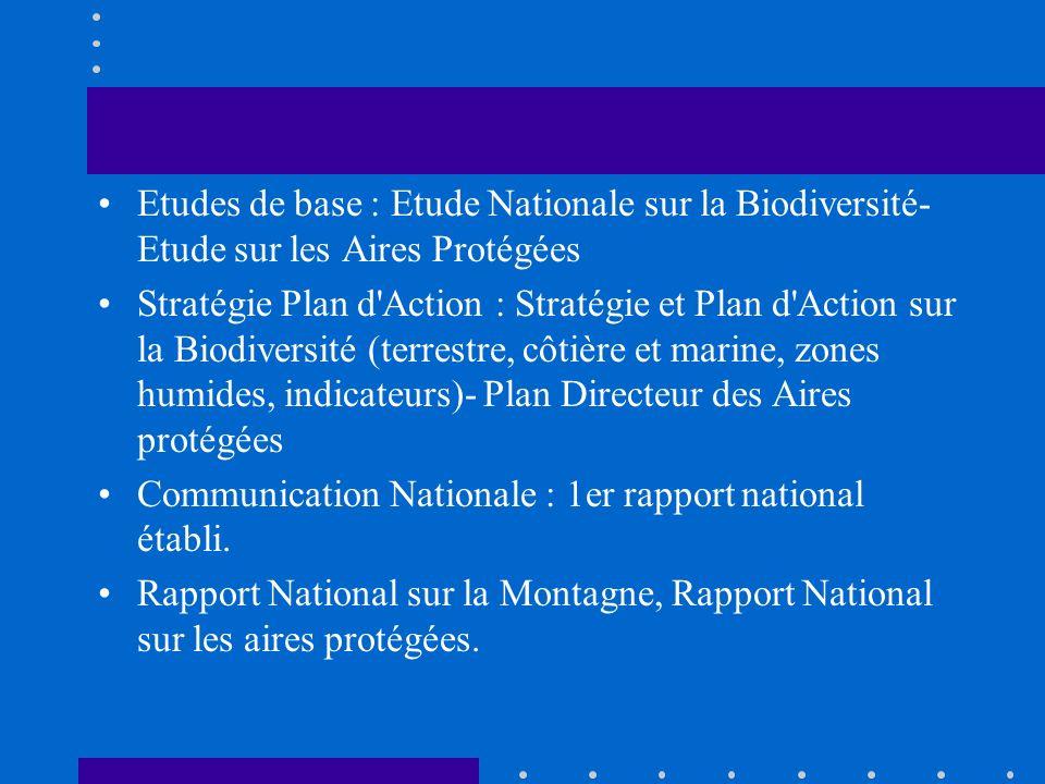 Etudes de base : Etude Nationale sur la Biodiversité- Etude sur les Aires Protégées