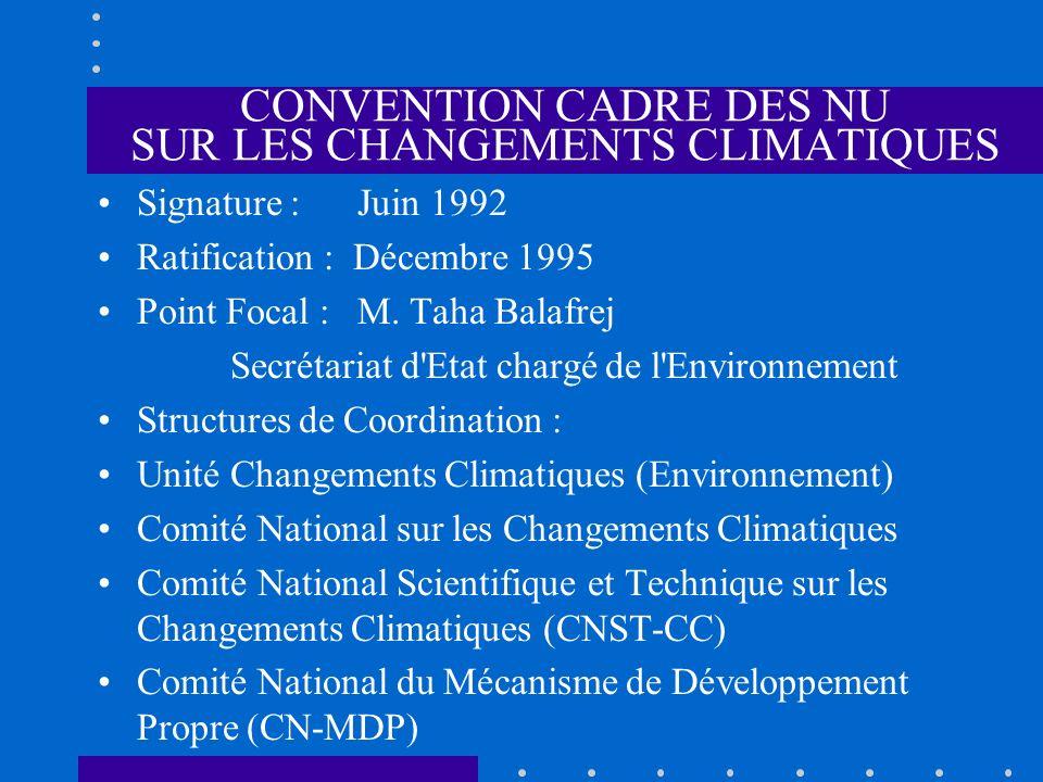 CONVENTION CADRE DES NU SUR LES CHANGEMENTS CLIMATIQUES