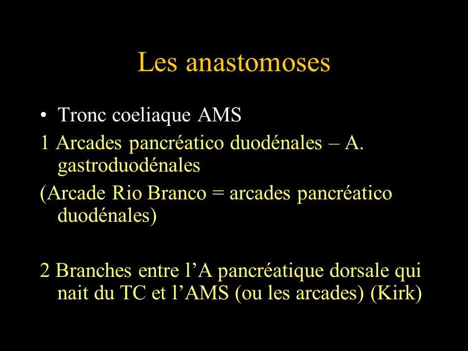 Les anastomoses Tronc coeliaque AMS