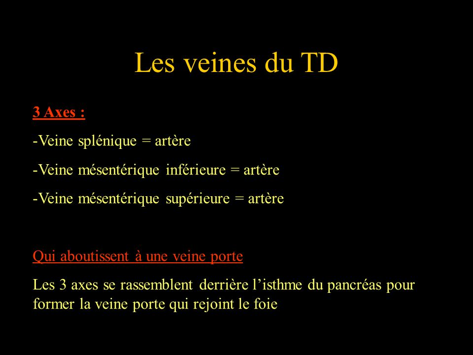 Les veines du TD 3 Axes : Veine splénique = artère