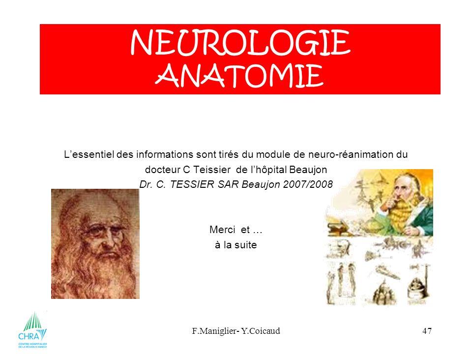 NEUROLOGIE ANATOMIE L'essentiel des informations sont tirés du module de neuro-réanimation du. docteur C Teissier de l'hôpital Beaujon.