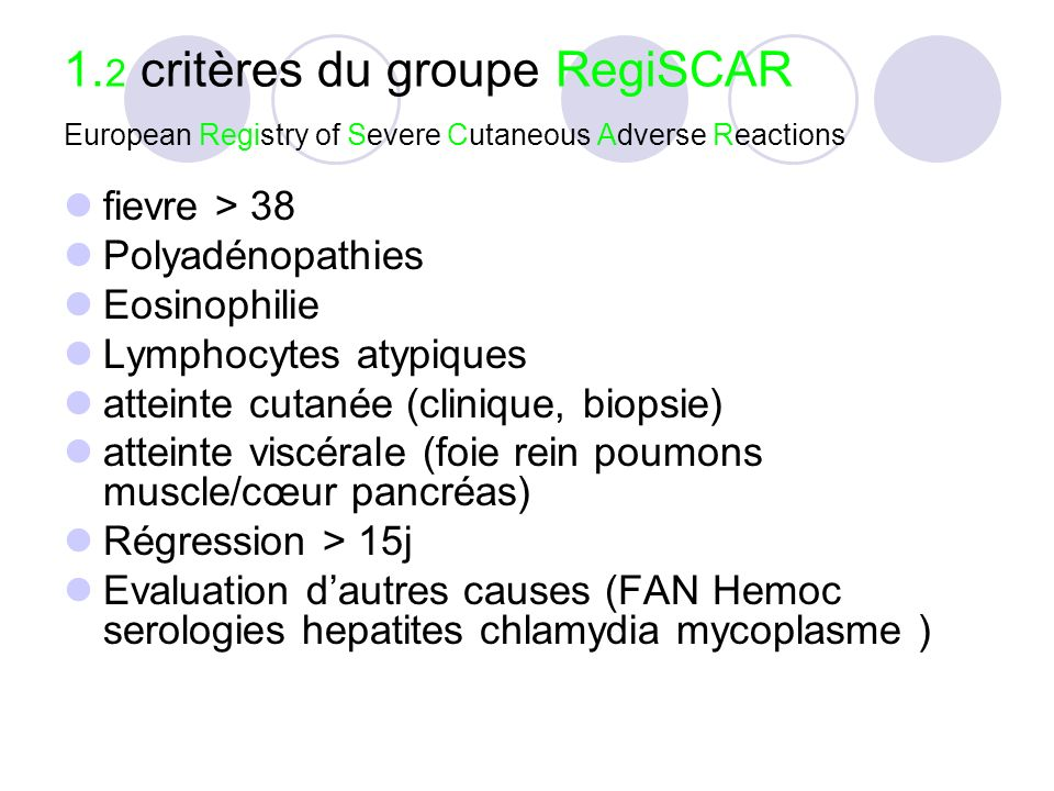 1.2 critères du groupe RegiSCAR European Registry of Severe Cutaneous Adverse Reactions