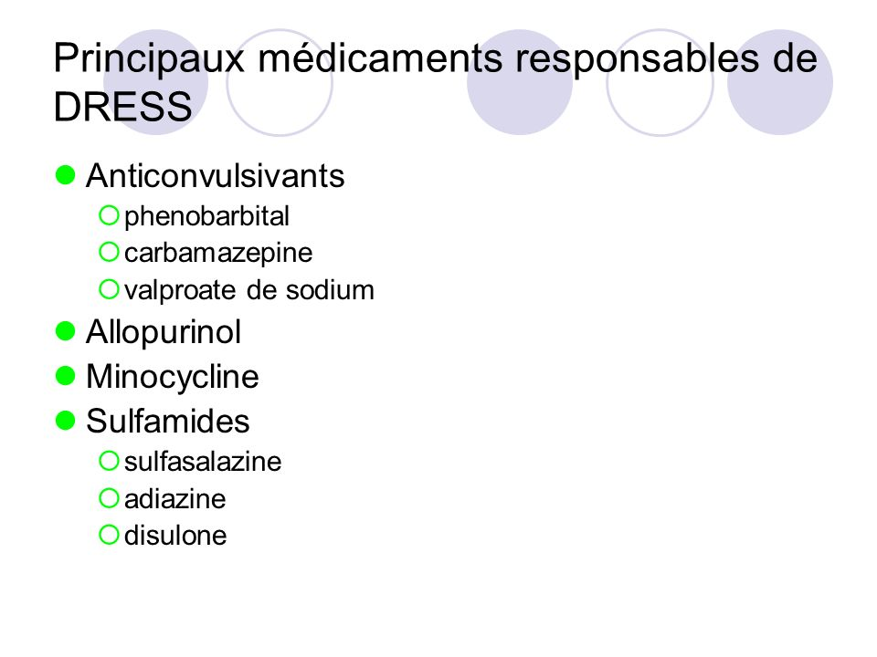 Principaux médicaments responsables de DRESS
