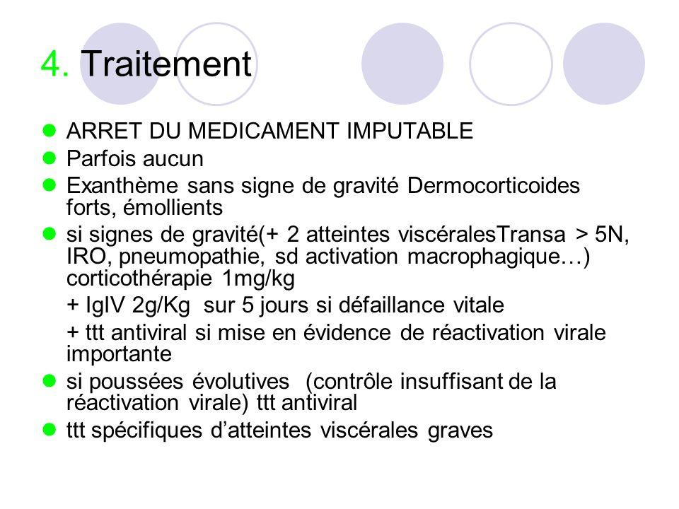 4. Traitement ARRET DU MEDICAMENT IMPUTABLE Parfois aucun