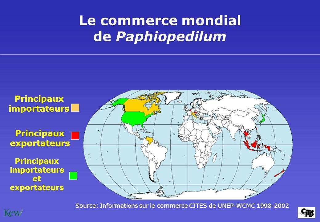 Le commerce mondial de Paphiopedilum