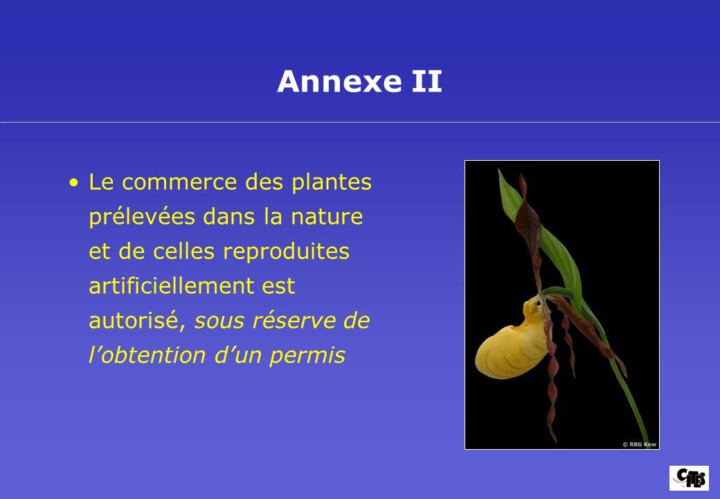 La CITES et les Plantes Buts et mise en oeuvre 11. Annexe II.