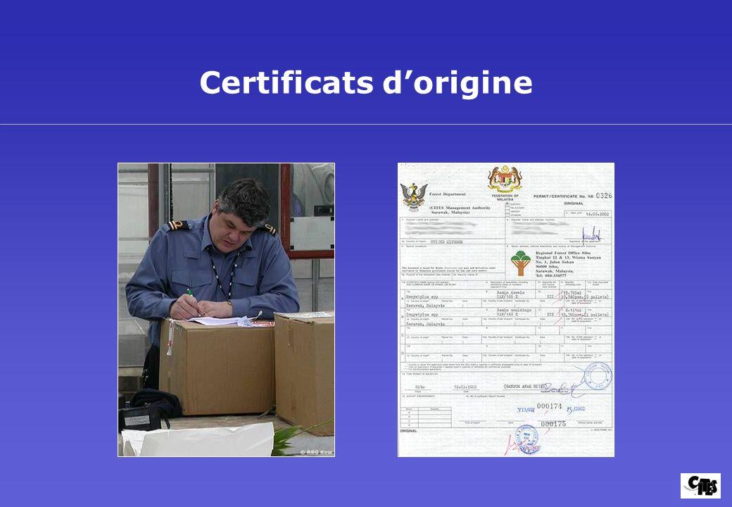 Certificats d'origine