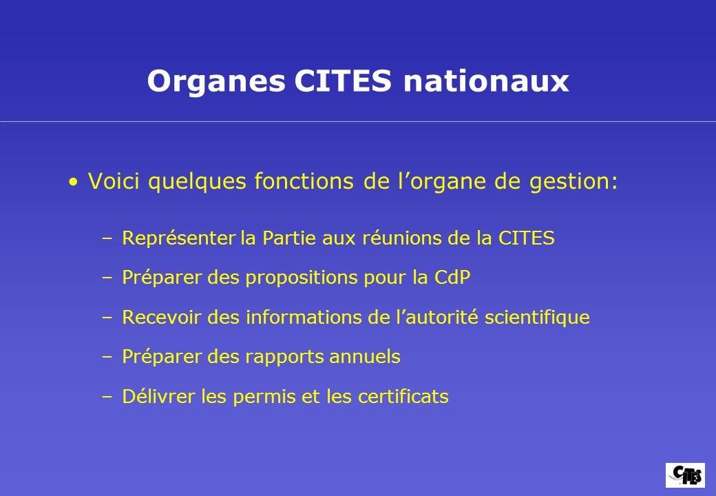 Organes CITES nationaux