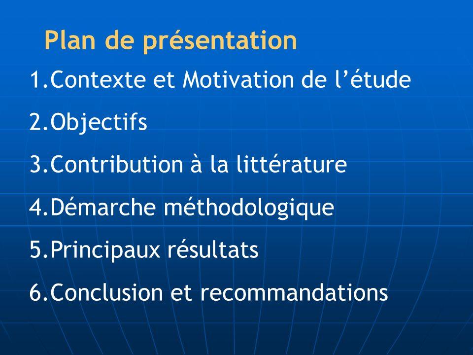 Plan de présentation Contexte et Motivation de l'étude Objectifs