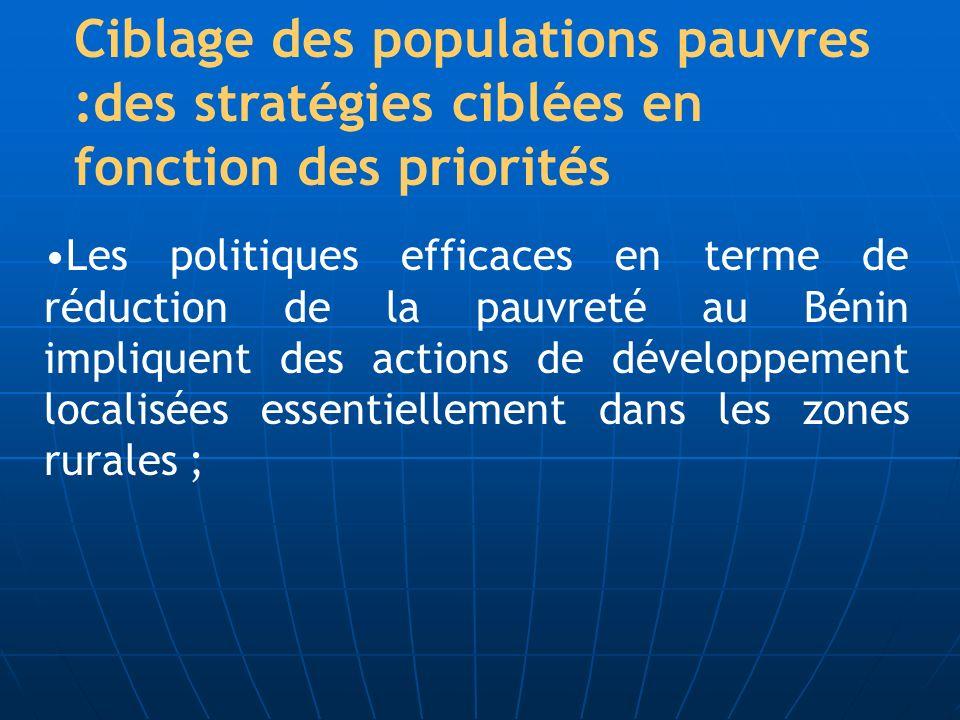 Ciblage des populations pauvres :des stratégies ciblées en fonction des priorités