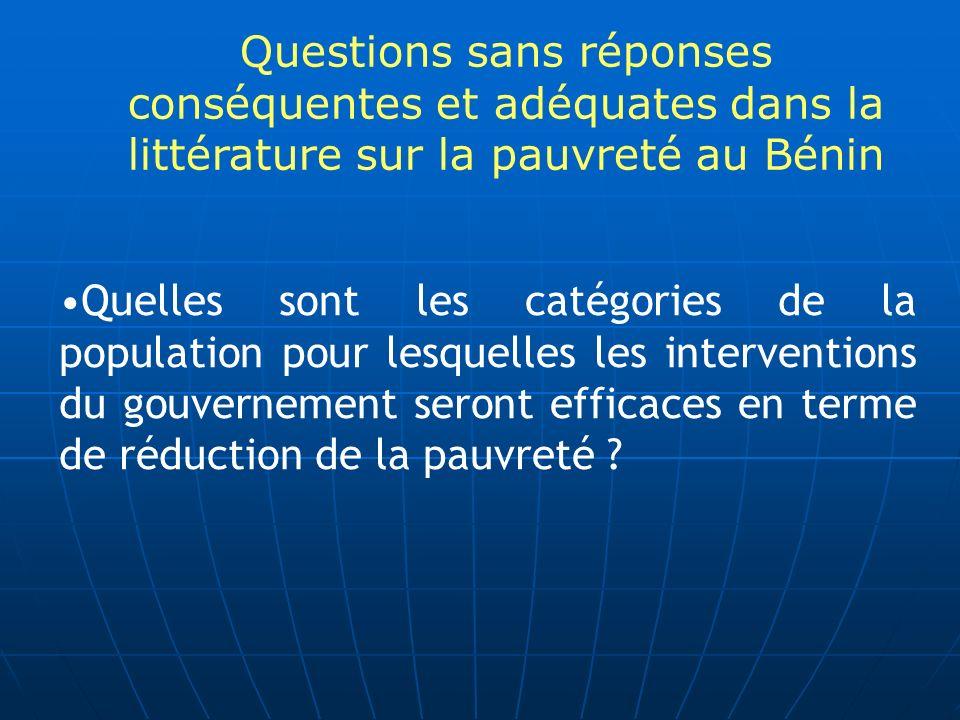 Questions sans réponses conséquentes et adéquates dans la littérature sur la pauvreté au Bénin