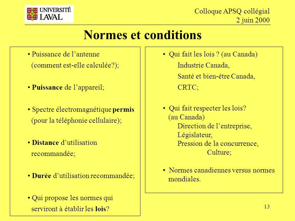 Normes et conditions Colloque APSQ collégial 2 juin 2000