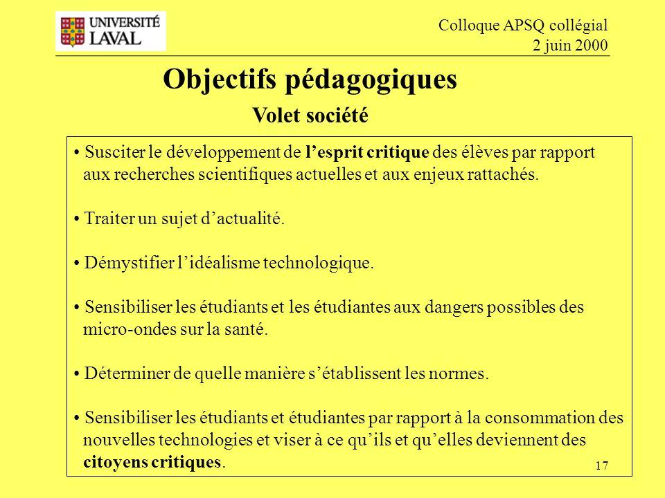 Objectifs pédagogiques Volet société