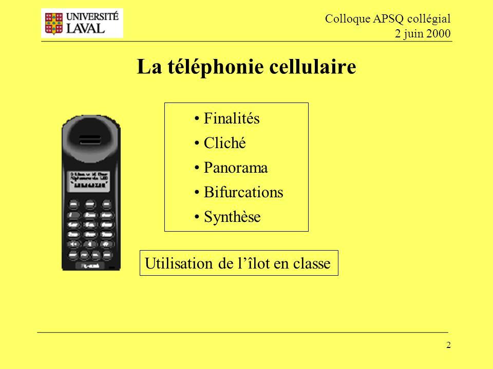 La téléphonie cellulaire