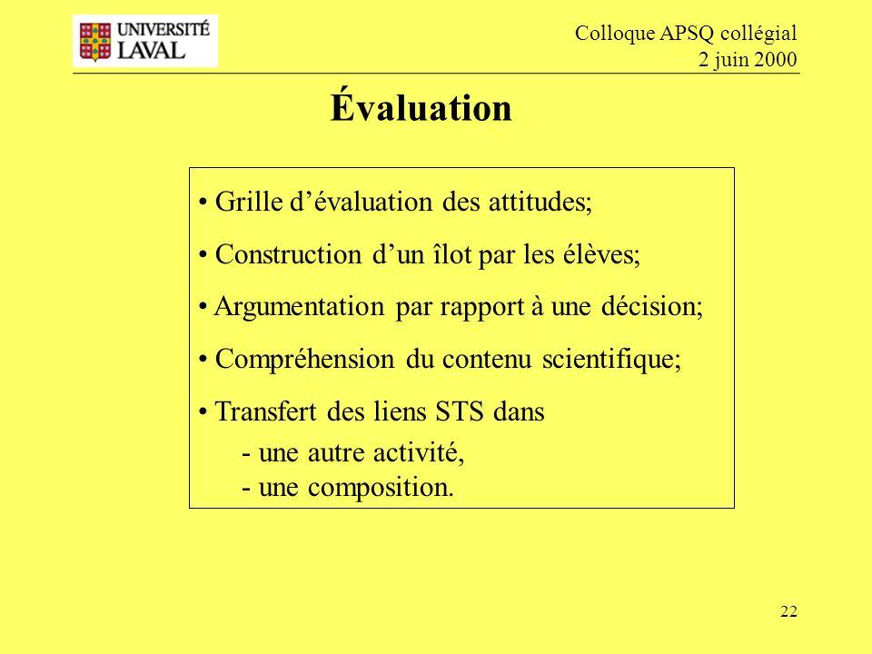 Évaluation Grille d'évaluation des attitudes;