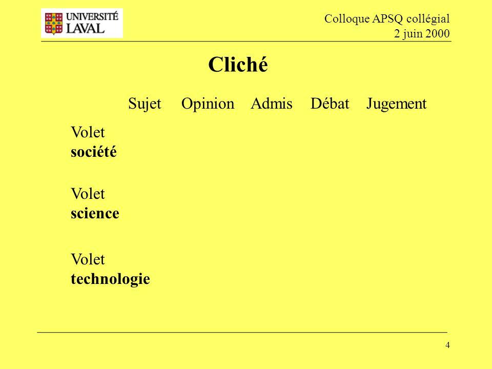 Cliché Sujet Opinion Admis Débat Jugement Volet société Volet science