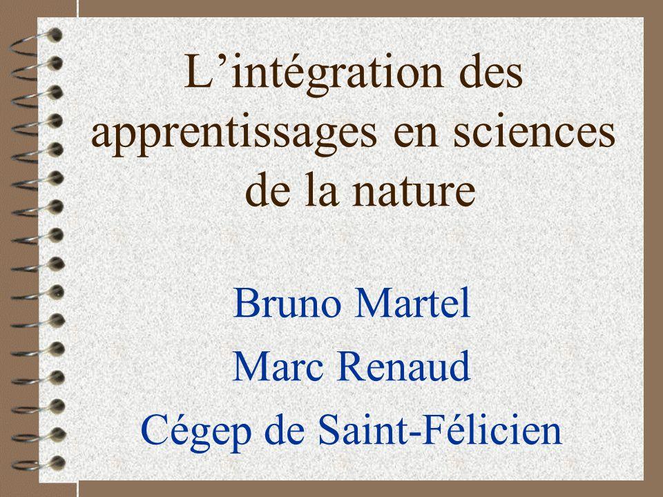 L'intégration des apprentissages en sciences de la nature