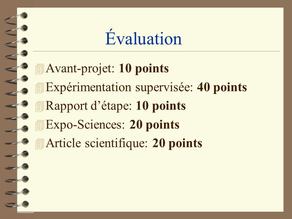 Évaluation Avant-projet: 10 points