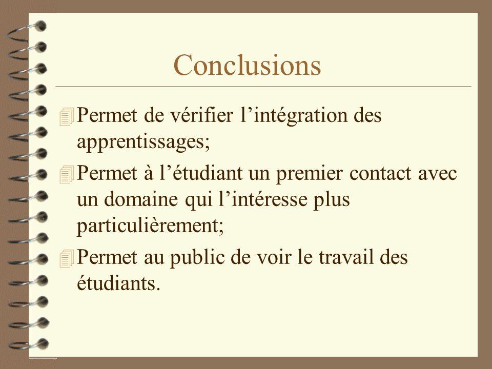 Conclusions Permet de vérifier l'intégration des apprentissages;