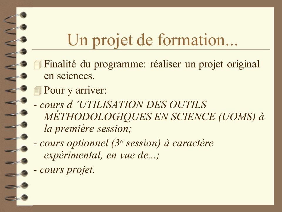 10/15/98Un projet de formation... Finalité du programme: réaliser un projet original en sciences. Pour y arriver: