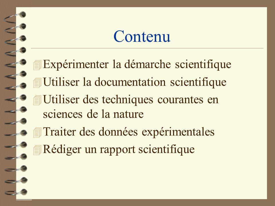 Contenu Expérimenter la démarche scientifique