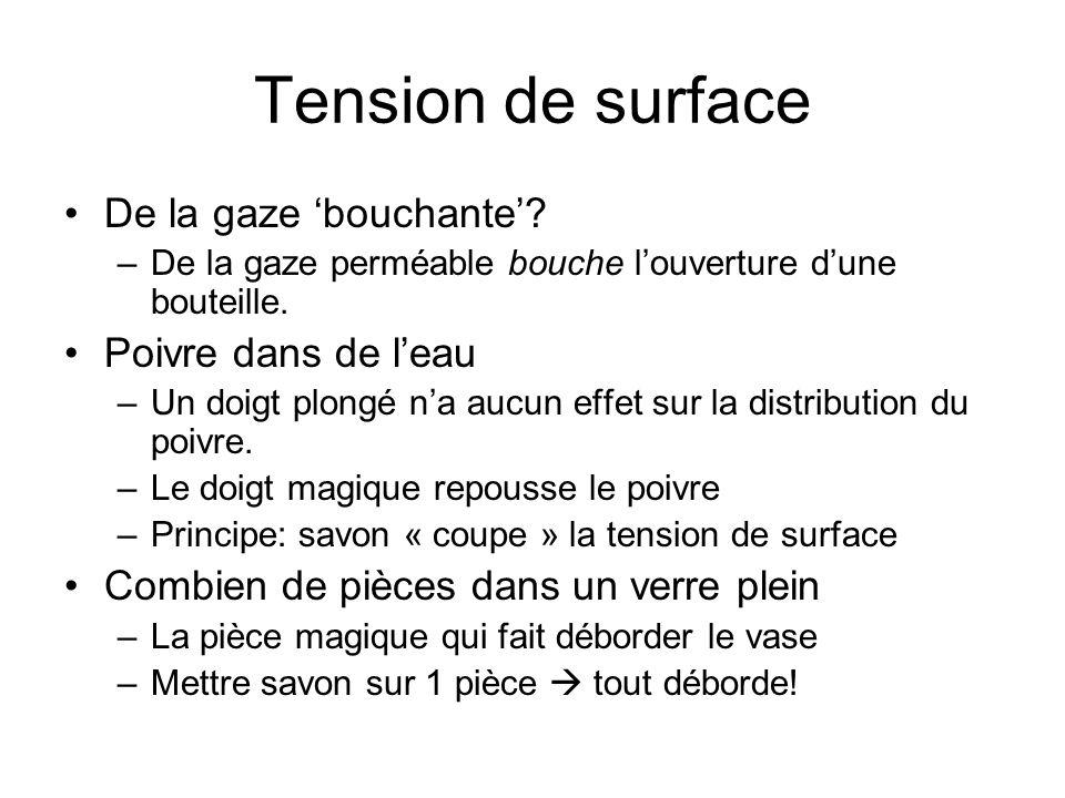 Tension de surface De la gaze 'bouchante' Poivre dans de l'eau
