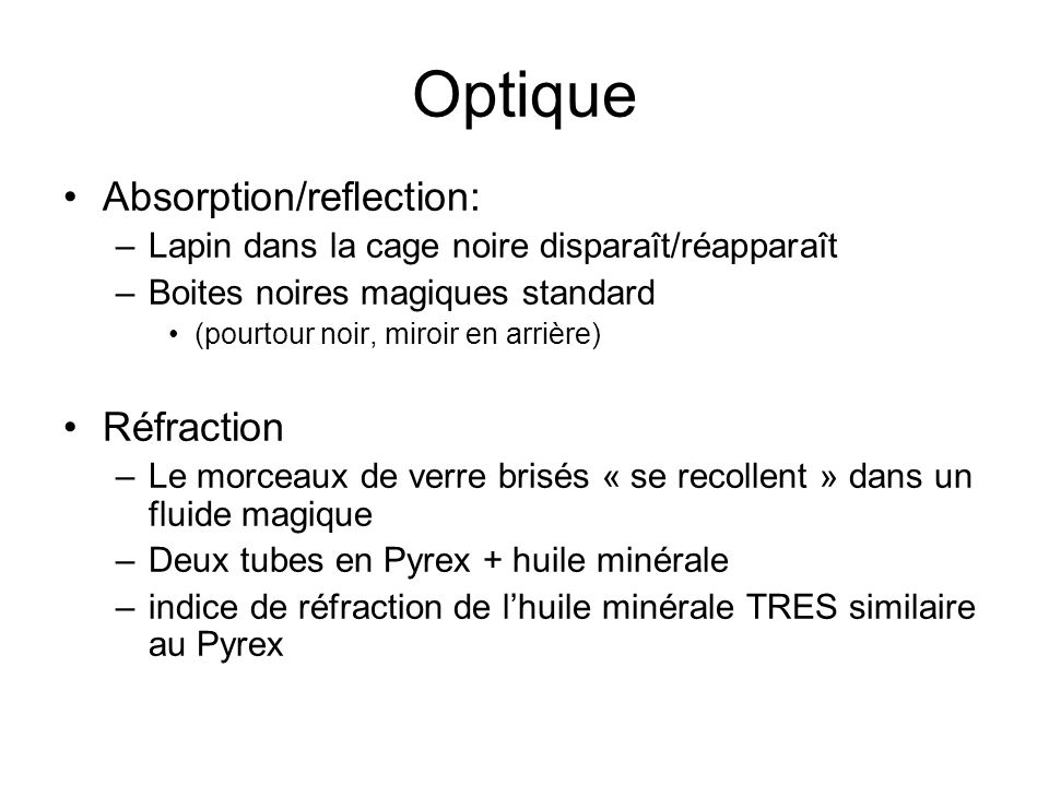 Optique Absorption/reflection: Réfraction