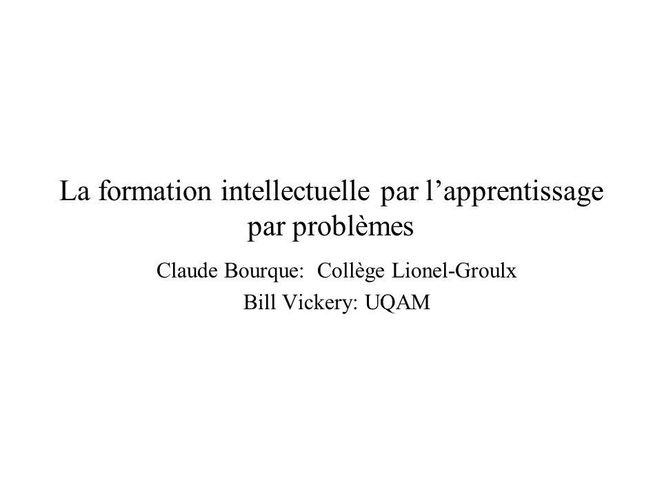 La formation intellectuelle par l'apprentissage par problèmes