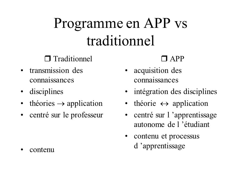 Programme en APP vs traditionnel