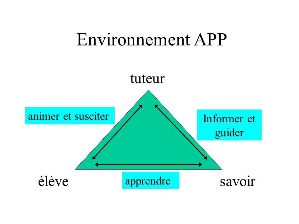 Environnement APP tuteur élève savoir animer et susciter