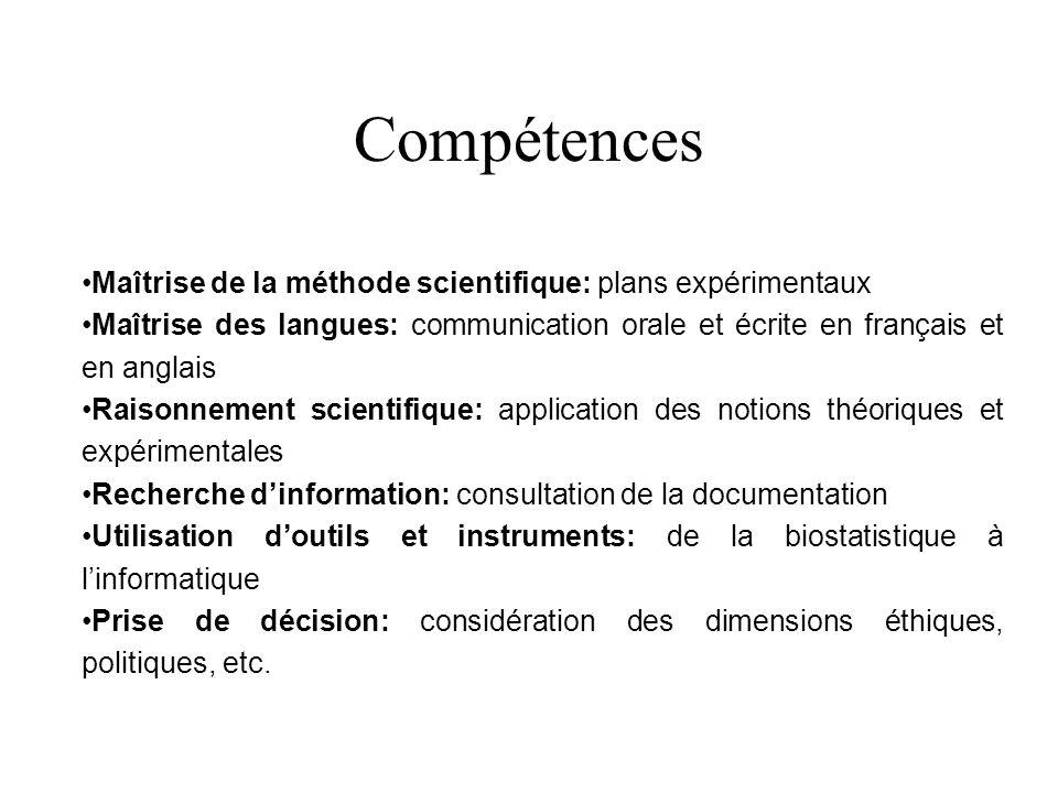 Compétences Maîtrise de la méthode scientifique: plans expérimentaux