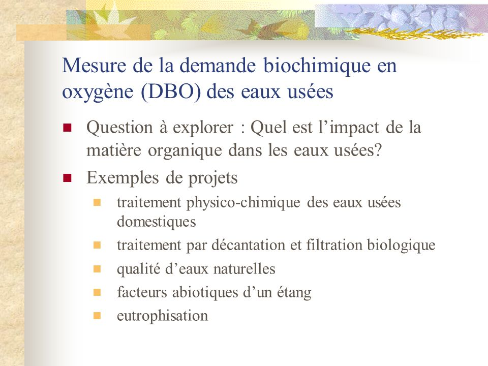 Mesure de la demande biochimique en oxygène (DBO) des eaux usées
