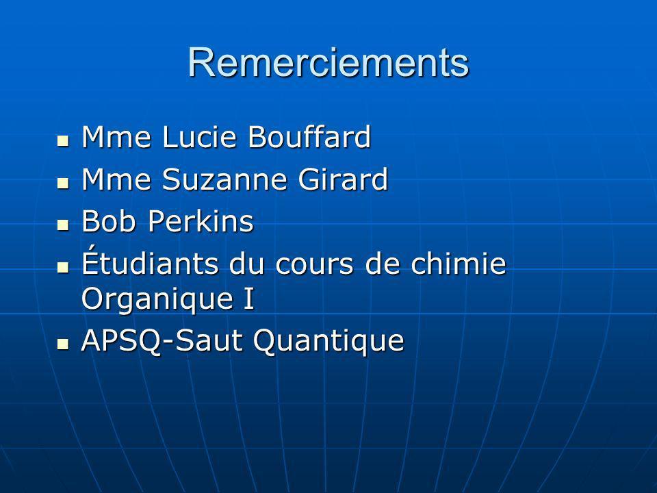 Remerciements Mme Lucie Bouffard Mme Suzanne Girard Bob Perkins