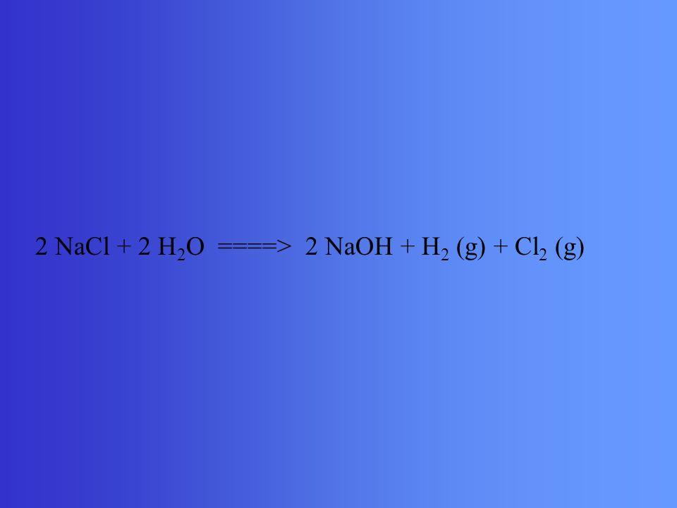 2 NaCl + 2 H2O ====> 2 NaOH + H2 (g) + Cl2 (g)