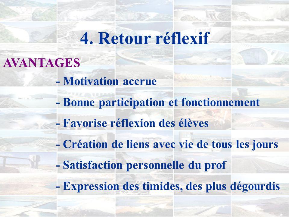 4. Retour réflexif AVANTAGES - Motivation accrue