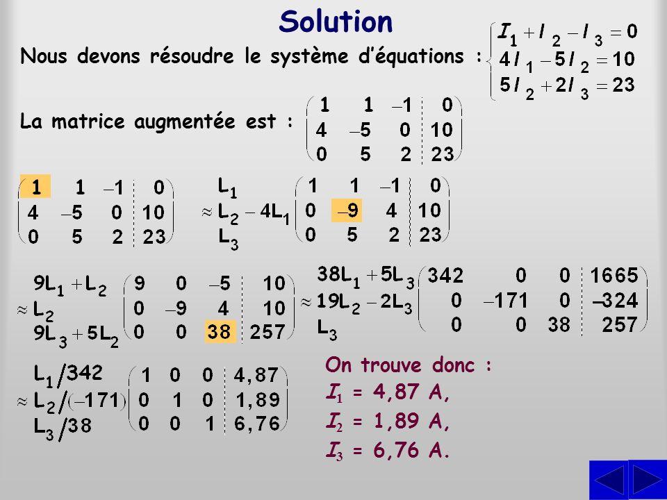 Solution Nous devons résoudre le système d'équations :