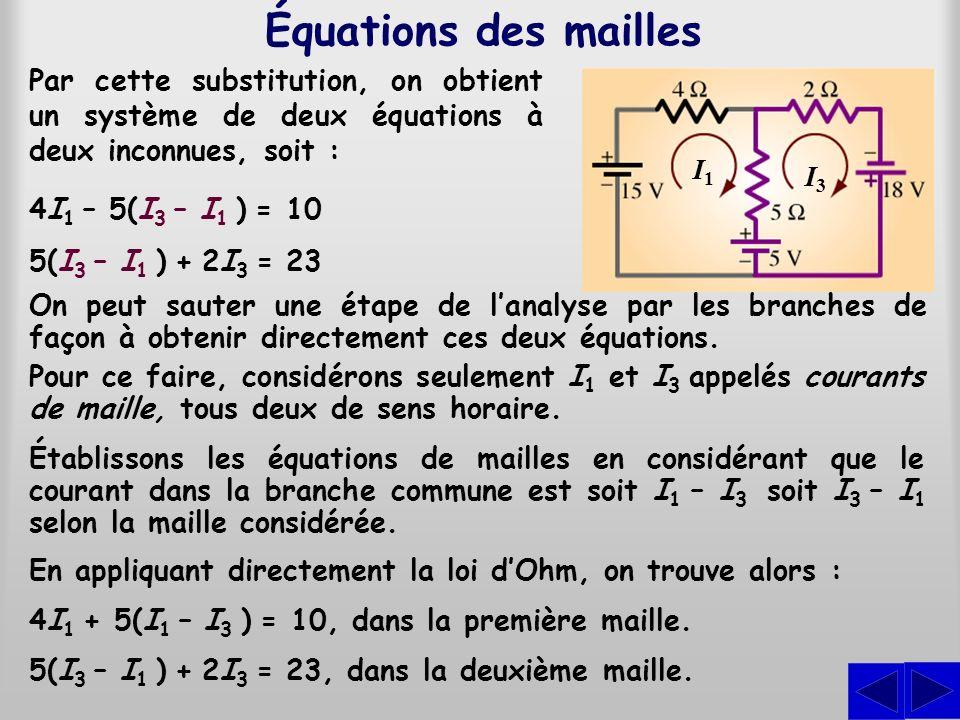 Équations des mailles Par cette substitution, on obtient un système de deux équations à deux inconnues, soit :