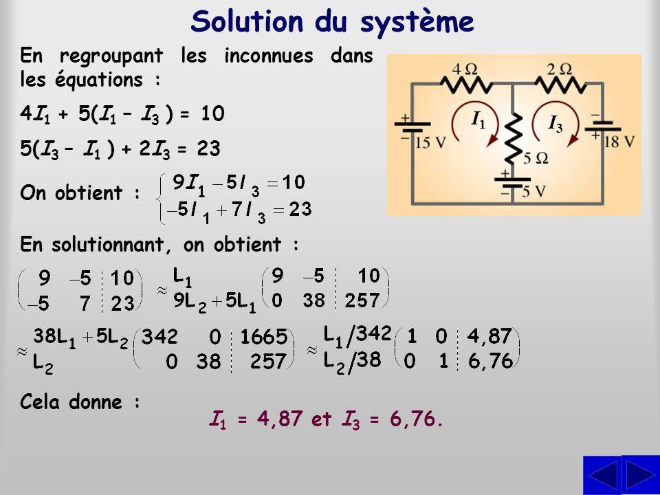 Solution du système En regroupant les inconnues dans les équations :