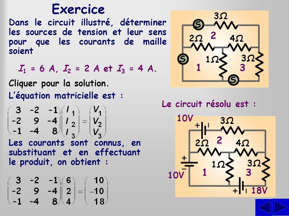 Exercice3Ω. 1. 2. 3. 2Ω. 4Ω. 1Ω. Dans le circuit illustré, déterminer les sources de tension et leur sens pour que les courants de maille soient.