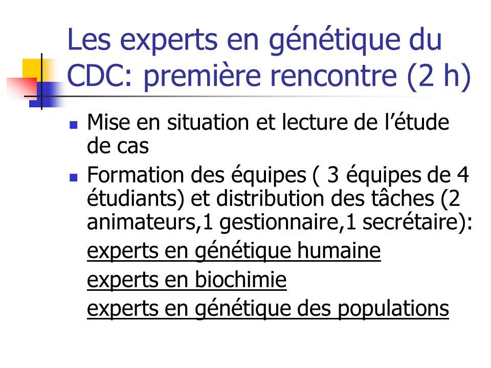 Les experts en génétique du CDC: première rencontre (2 h)