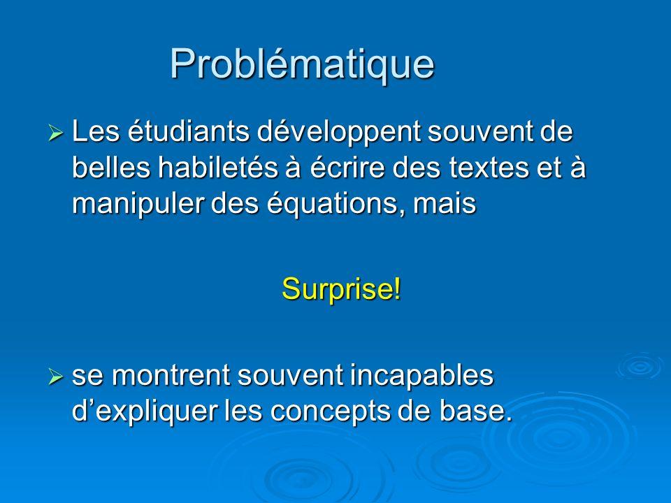 Problématique Les étudiants développent souvent de belles habiletés à écrire des textes et à manipuler des équations, mais.
