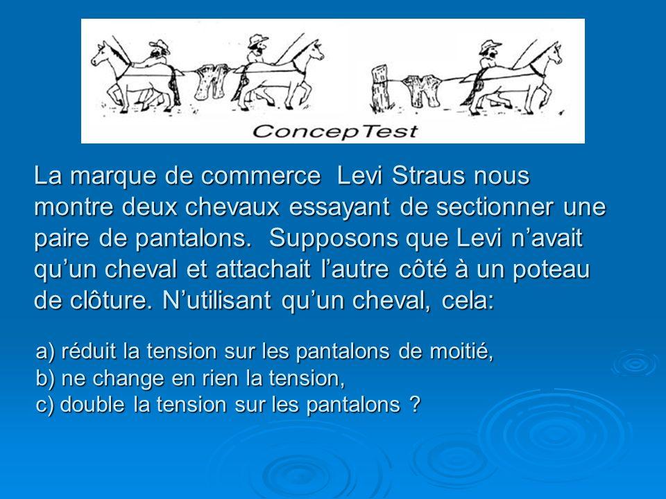 La marque de commerce Levi Straus nous montre deux chevaux essayant de sectionner une paire de pantalons. Supposons que Levi n'avait qu'un cheval et attachait l'autre côté à un poteau de clôture. N'utilisant qu'un cheval, cela: