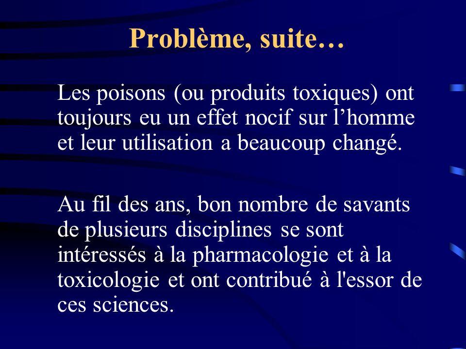 Problème, suite… Les poisons (ou produits toxiques) ont toujours eu un effet nocif sur l'homme et leur utilisation a beaucoup changé.