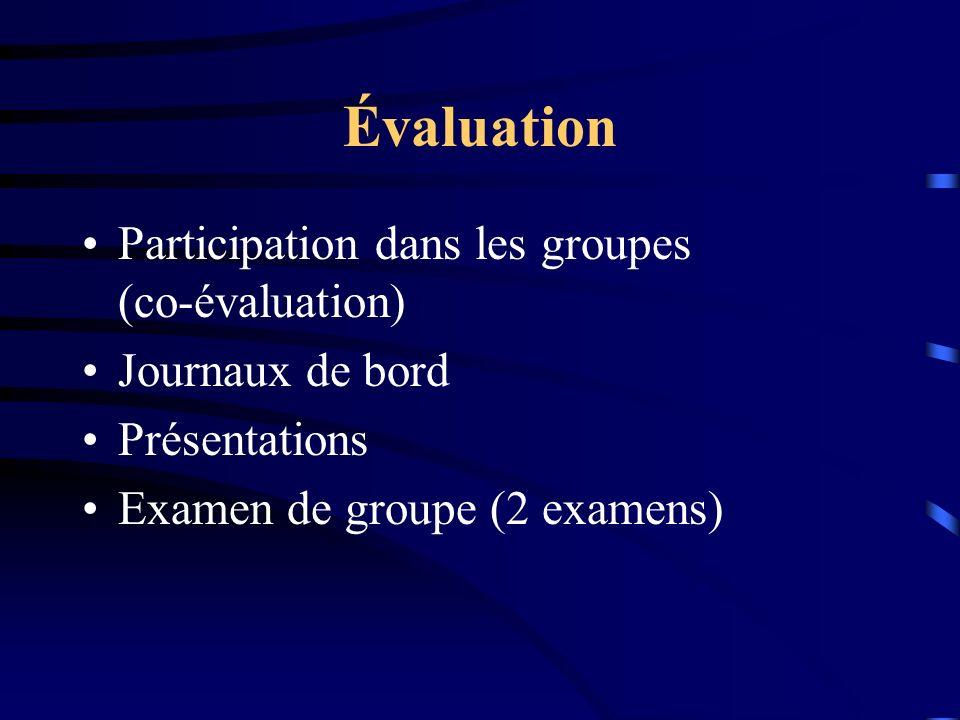Évaluation Participation dans les groupes (co-évaluation)
