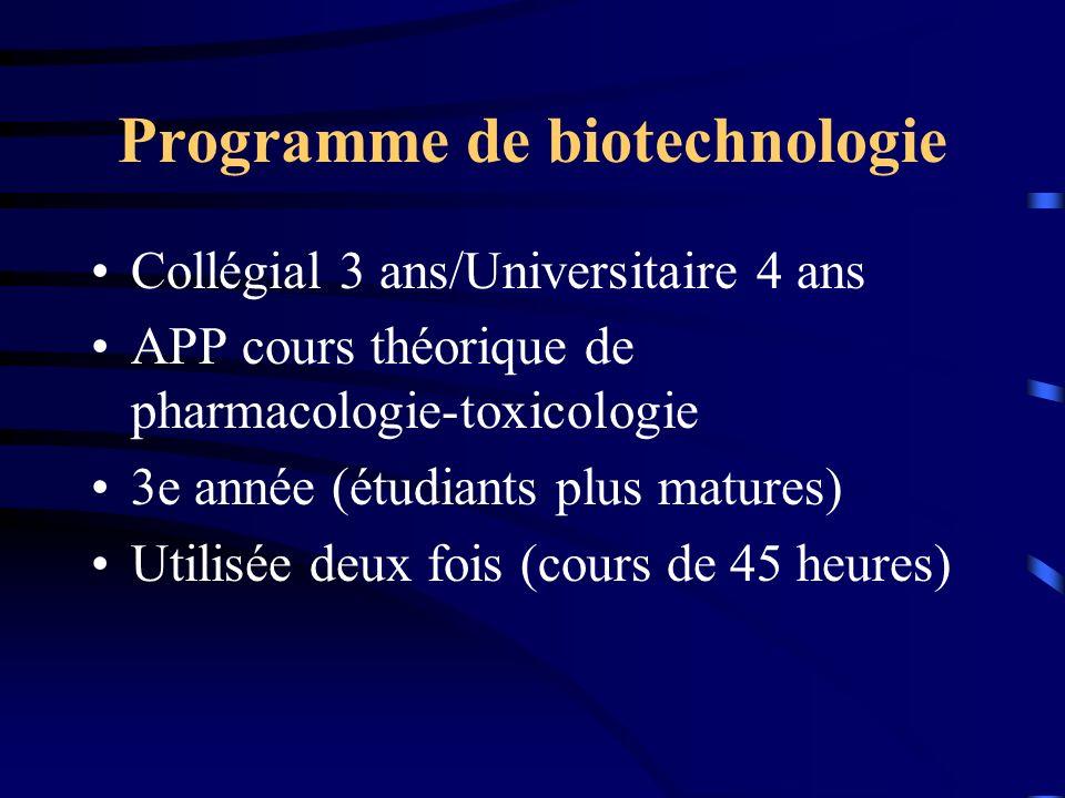 Programme de biotechnologie